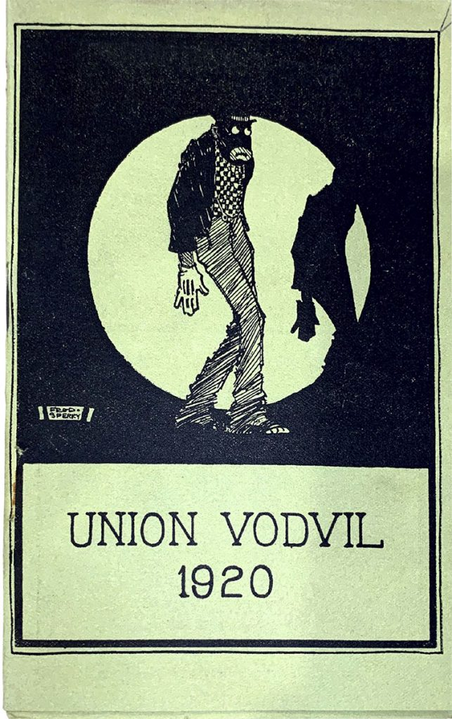 Program cover for the Union Vodvil in 1920 featuring a blackface caricature.