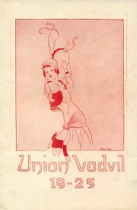 Program cover featuring an illustration of a woman wearing Romani (gypsy in the parlance of the time) clothing and playing a tambourine.