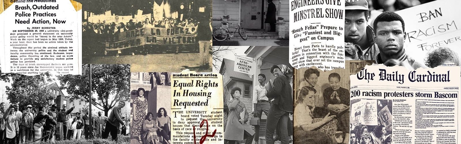 A collage of historical photos and newspaper clippings from events at the University of Wisconsin–Madison.